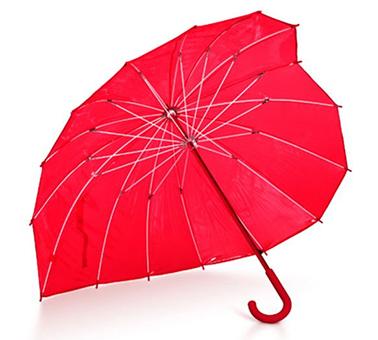 PVC红色透明心形伞