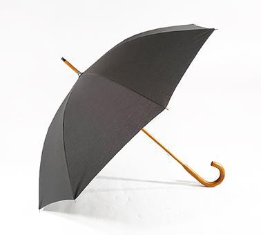 枫木实木轴TC布黑伞